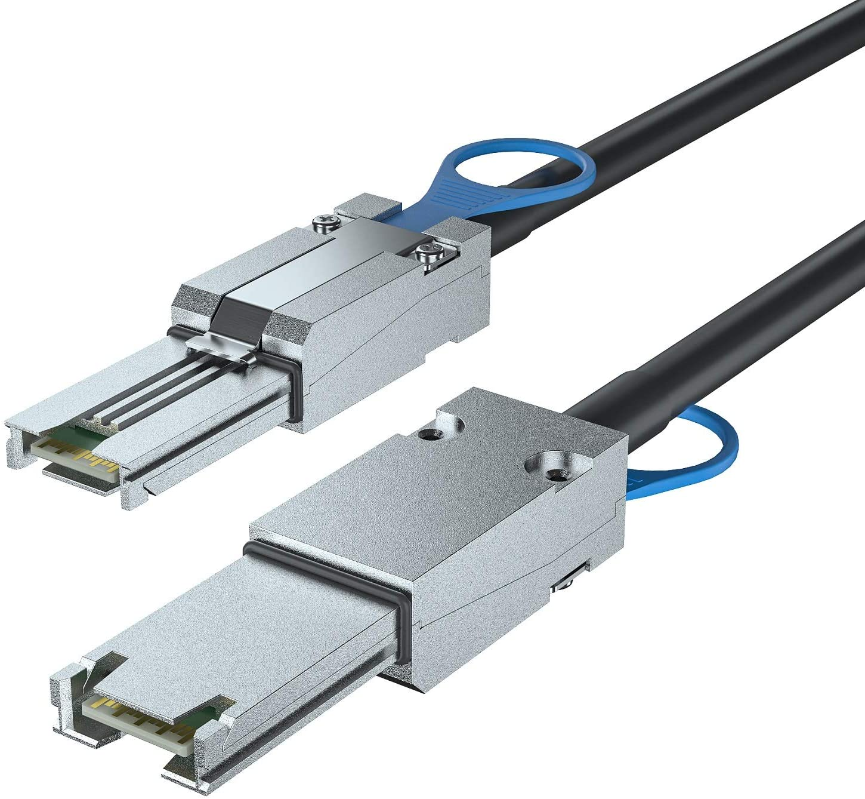 6G External Mini SAS SFF-8088 to SFF-8088 Cable, 100-Ohm, 2-m(6.6ft)