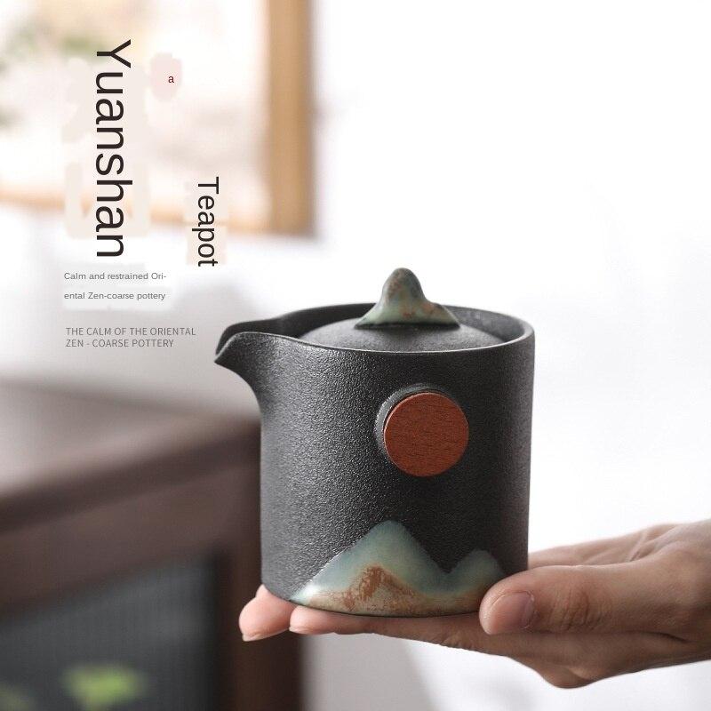 إبريق شاي ياباني مقاوم للحرارة ، سيراميك مطلي يدويًا ، شاي الكونغ فو ، مكتب ، شاي زن ، طقم شاي فردي