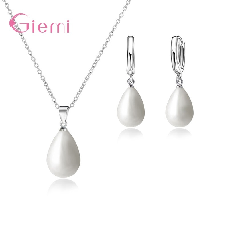 sa silverage 925 sterling silver vintage pendant chain necklaces water drop drop earrings jewelry sets for woman long earrings 925 Sterling Silver Jewelry Sets Natural Freshwater Pearl Drop Earrings Trendy Pendant Chain Necklaces For Women Girl
