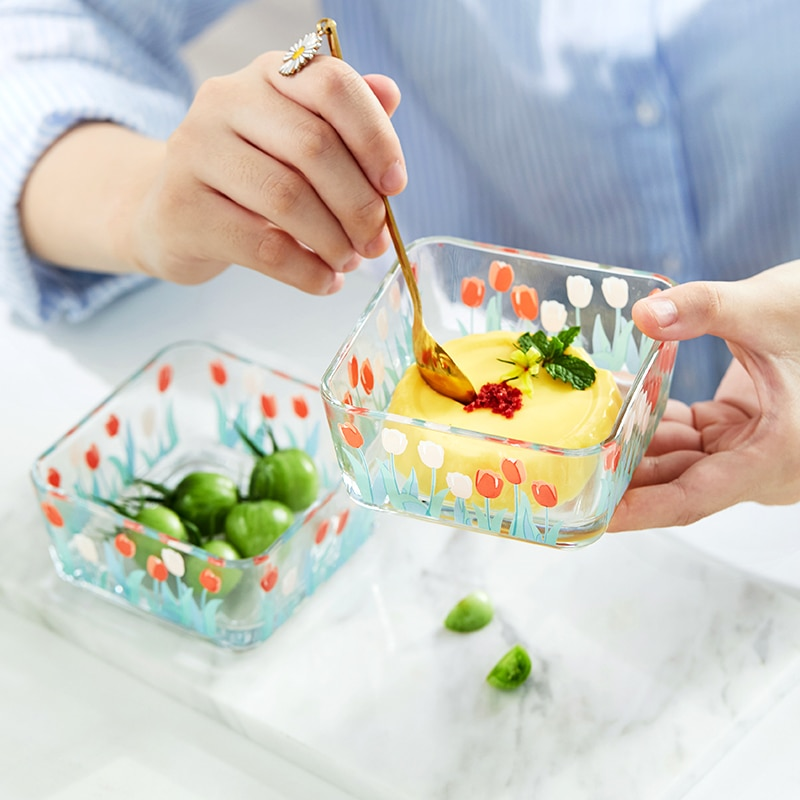Bol de postre de tulipán Mili Fengwu, Bol retro Para agua y azúcar, tazón de helado, Bol de cristal para ensaladas
