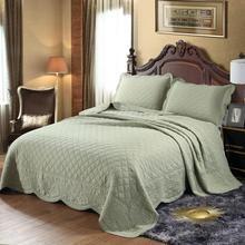Envío Gratis, colcha de patchwork de algodón blanco verde caqui Guisante de color sólido, edredón tamaño king size 3 uds, cubrecama H