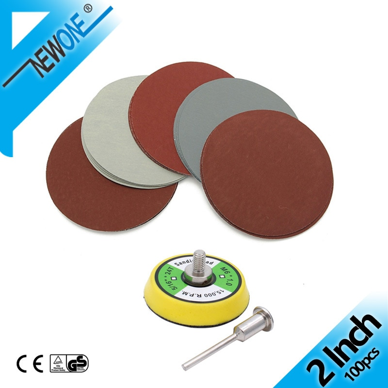 100pcs 2 inch 50mm Mix Sanding Sandpaper in Abrasive tool with 3mm Shank sanding Back-up Pad