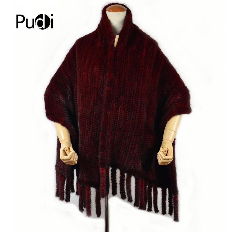 SAF009 100% حقيقي حقيقي فرو منك وشاح المرأة المنك الشتاء شالات دفئا الصلبة موضة الأوشحة النبيذ الأحمر