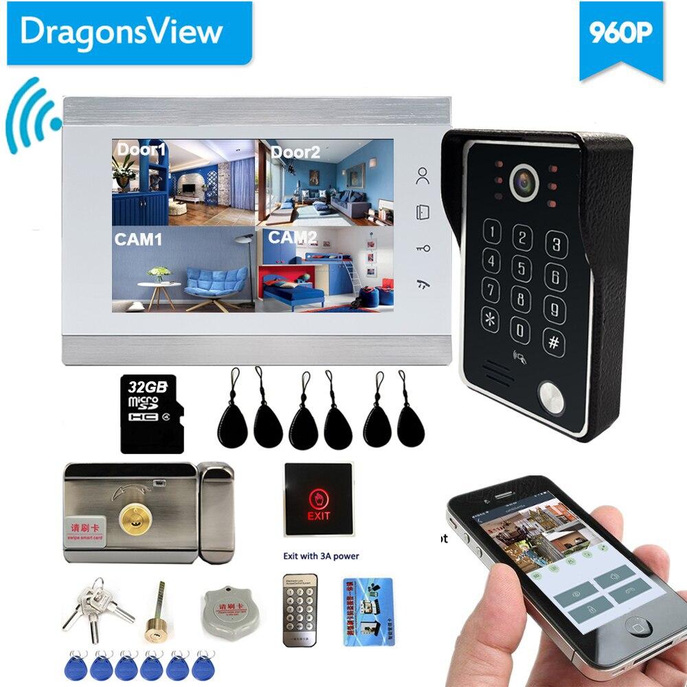 Dragonsview هاتف فيديو لاسلكي للباب واي فاي المنزل الذكي IP الداخلي مع قفل إلكتروني 7 بوصة AHD 960P IR Leds