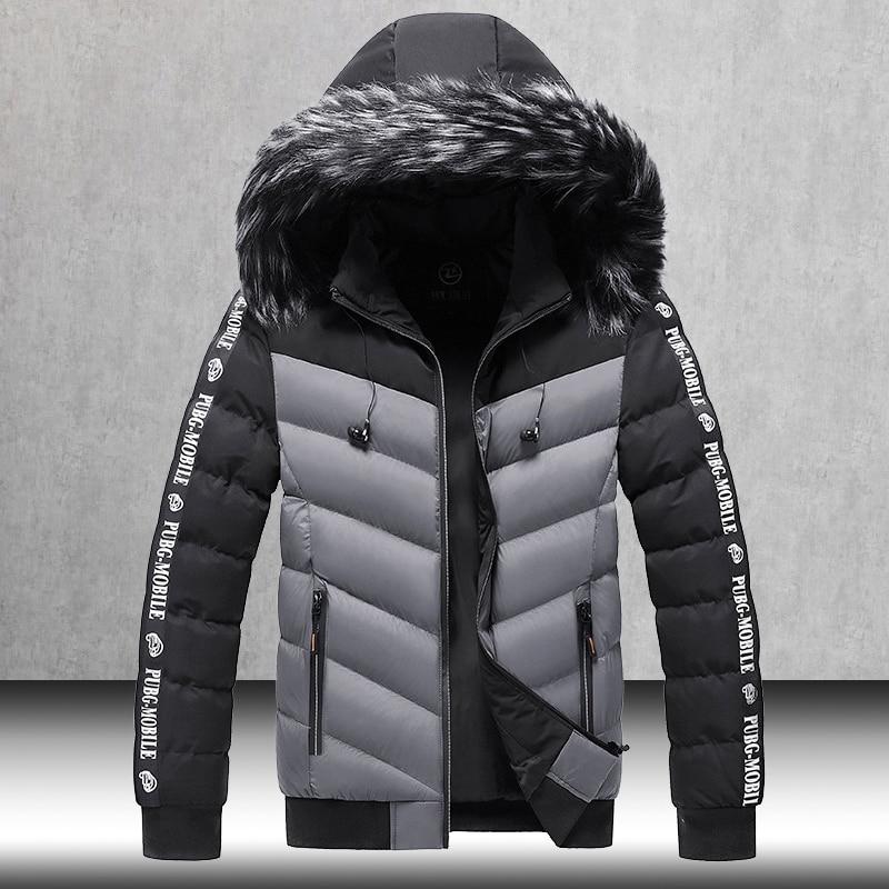 Winter Jacket Men 2020 Fur Collar Hooded Thick Warm Cotton Outwear Man Patchwork Parka and Coats Windbreaker Parkas Male M-5XL