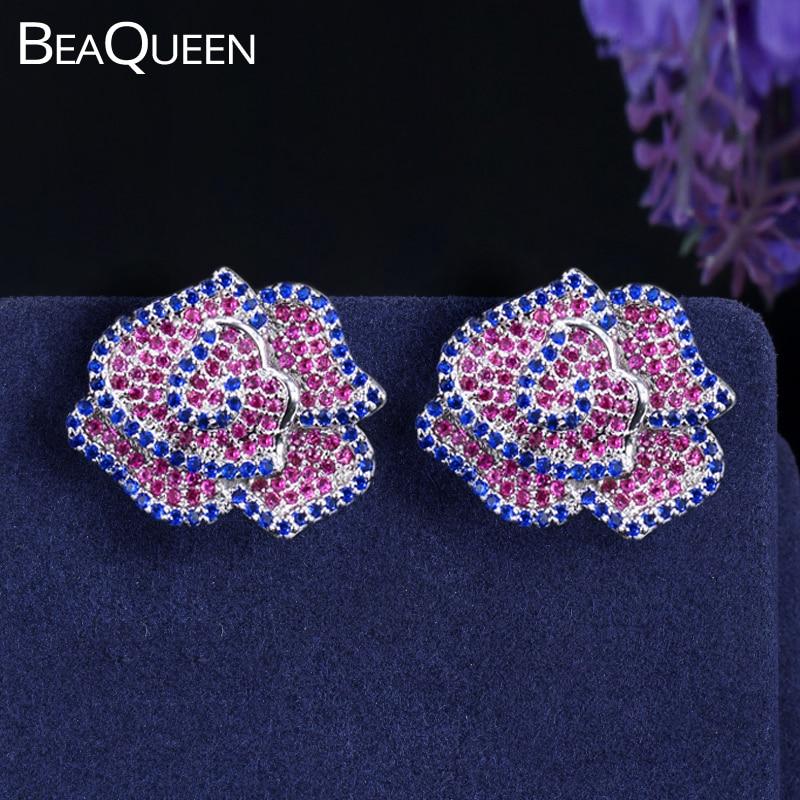 BeaQueen Charming Micro Pave Rose Red Blue Full CZ Stone Geometrical Flower Stud Earrings Lovely Ear Jewelry for Women E138