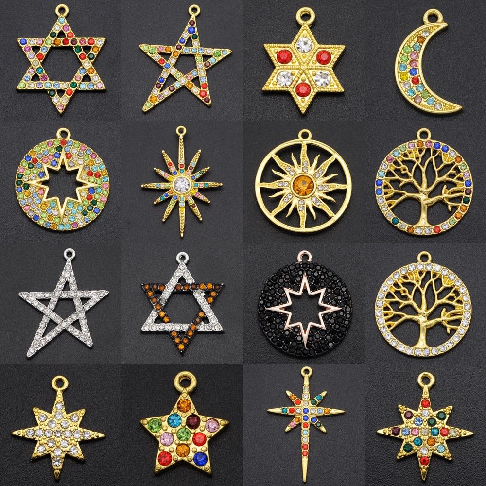 5 unids/lote fabuloso Arco Iris cristal estrella, sol Luna encanto colgante de moda al por mayor Árbol de la vida de los meteoritos, fabricación de la joyería diy encantos