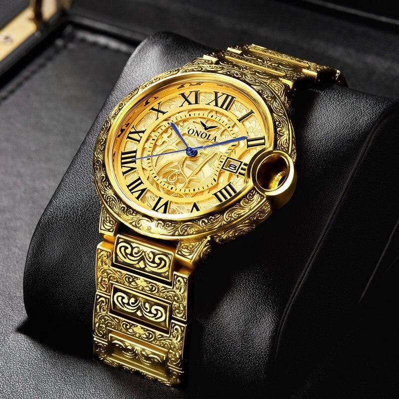 2020 ريترو الذهبي الرجال مشاهدة العلامة التجارية الفاخرة سبائك الصلب الأعمال ساعات يد كوارتز رجالي ساعة Relogio Masculino