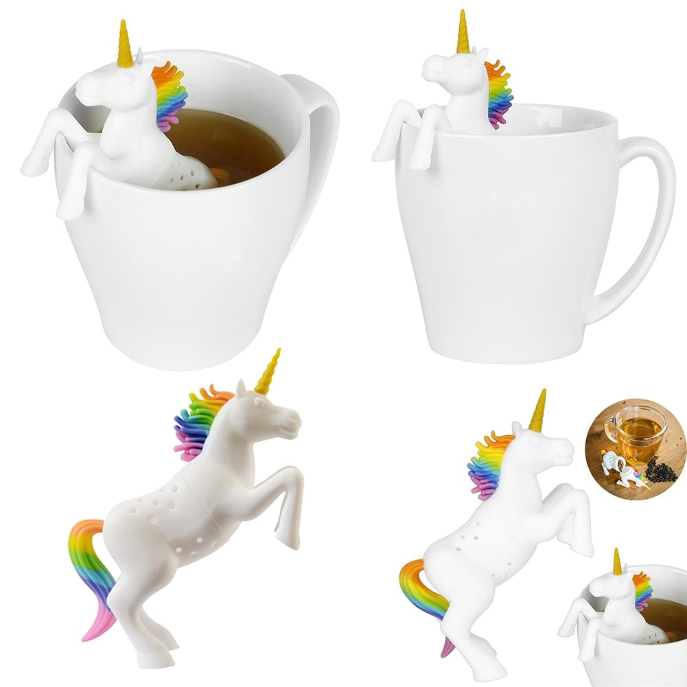 1 Uds filtros infusores de té con forma de unicornio de silicona de grado alimenticio filtro té suelto bolsa hoja Herbal Spice Filter Diffuser