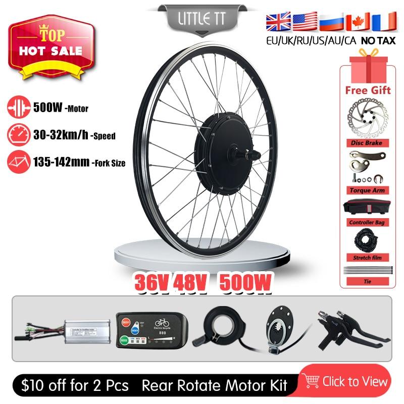Kit de conversión de bicicleta eléctrica, Motor de buje de rueda trasera...