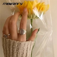 mewanry 925 sterling silver vintage distressed gemstone white agate new simple design holiday party ring birthday gift for women