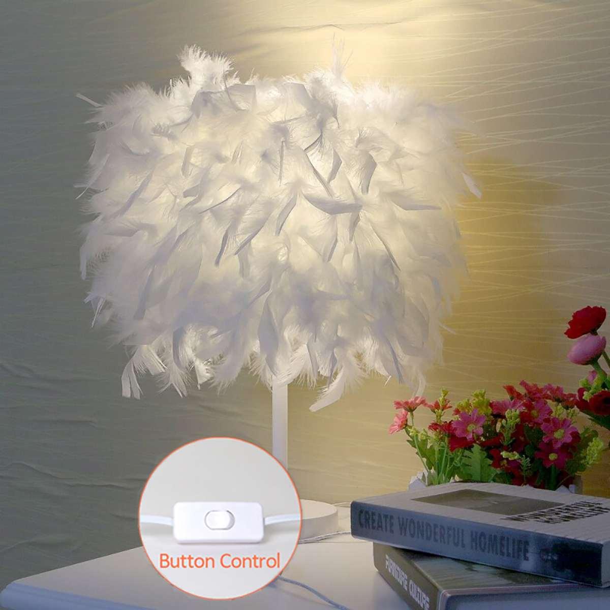 أوزة ريشة مصابيح طاولة توفيرية أباجورة الحديثة لغرفة المعيشة غرفة نوم الزفاف رومانسية الديكور رومانسية ريشة مصباح E27