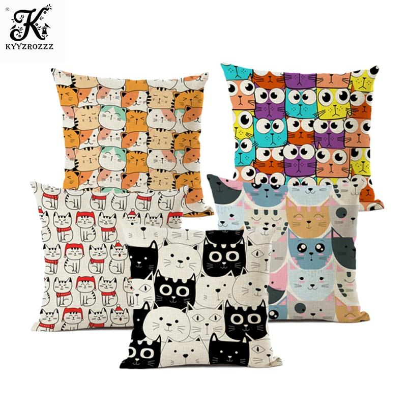 Capa de almofada dos desenhos animados, gatinho impressão padrão decoração para casa sala de estar sofá capa de almofada capa de almofada 45*45cm gato travesseiro
