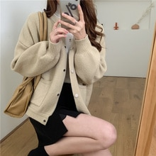 CMAZ 2021 Autumn Winte Sweater Women Tops Knitted Pullover Korean Style Cardigan Soft Warm Pull Thic