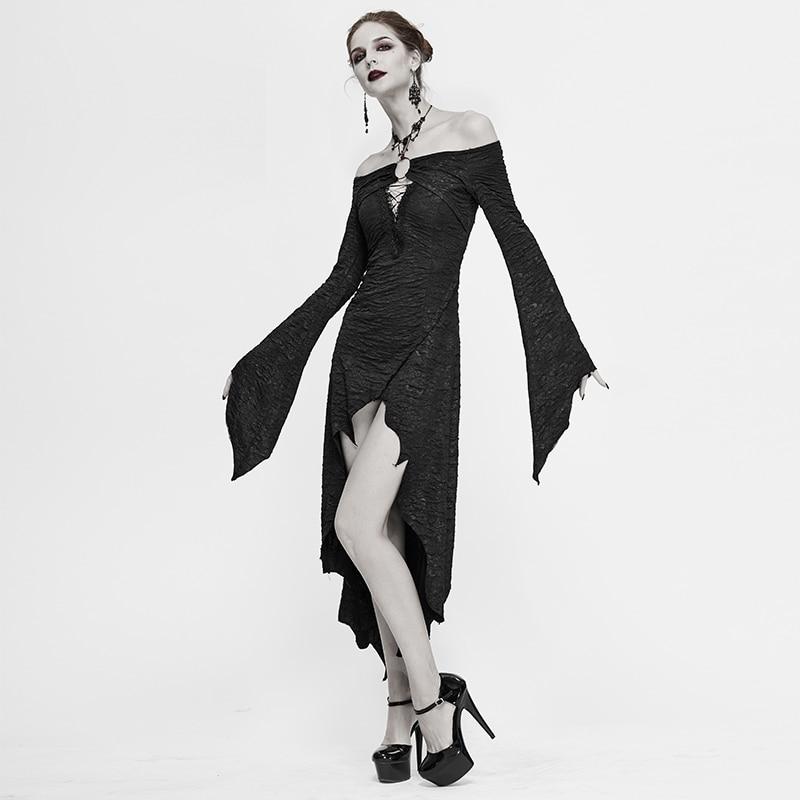 Devil Fashion Gothic Shoulderless Folds Long Sleeve Flared Sleeves Dress Prom Cocktail Dresses