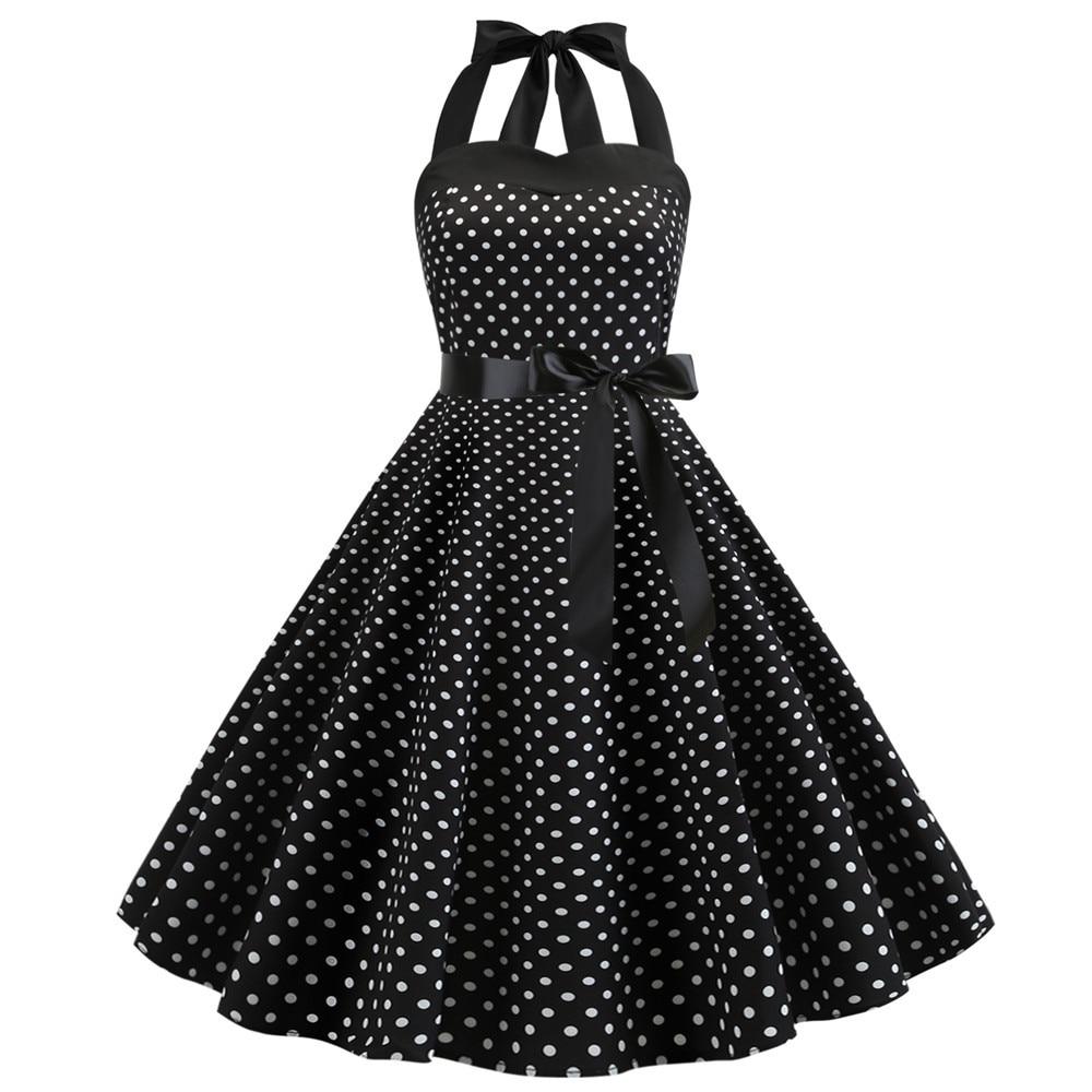 Vestido de verano de fiesta Vintage de lunares, cuello Halter, talla grande, Pin Up, Rockabilly, 2021