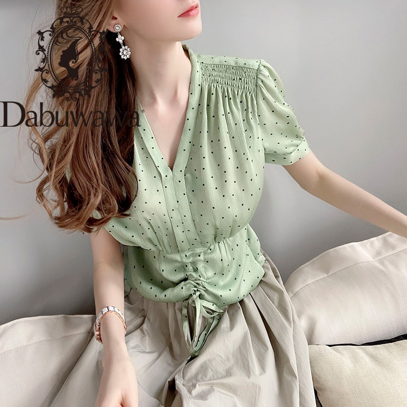 Dabuwawa Vintage de punto con cuello en V profundo Chiffon blusa mujer plisado corto por delante camisas de manga blusas, Tops mujer DT1BCF017