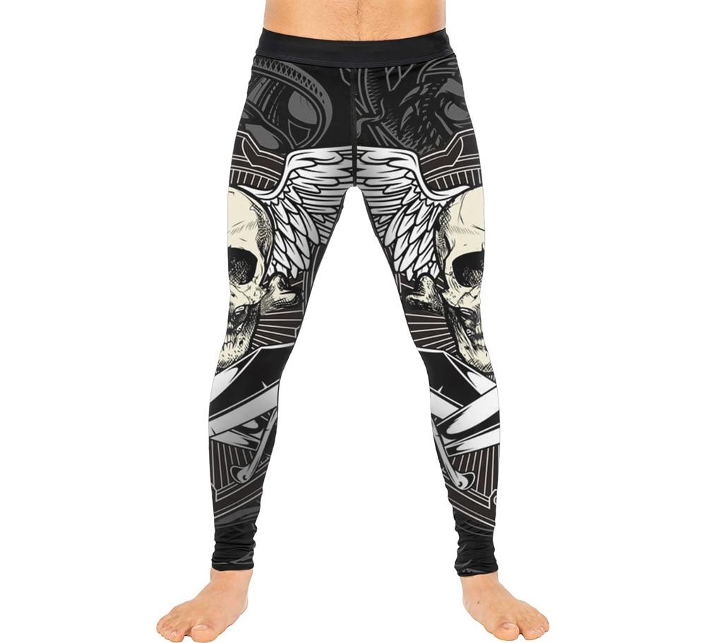 Schädel Flügel Männer Compression Sport Strumpfhosen Hosen Warme Kühlen Baselayer Lauf Leggings Yoga