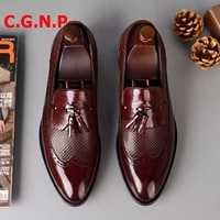 c g n p luxury wine red genuine leather loafers men tassel shoes fashion slip on business casual shoes men dress shoes