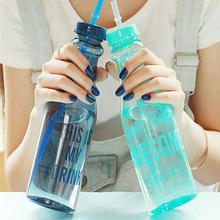 Бутылки для воды портативные спортивные пластиковые с двойной крышкой, 650 мл