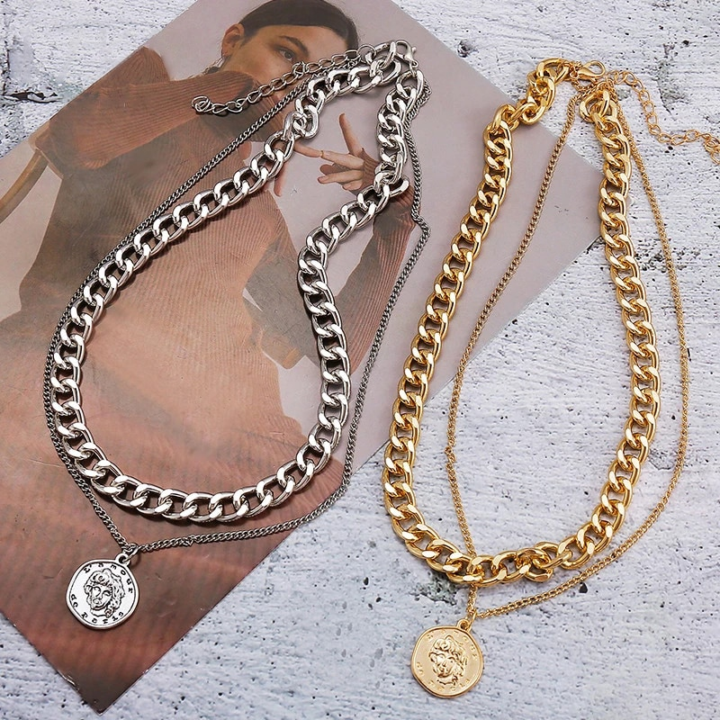 New Retro Punk Style Necklace Ladies Creative Double-layer Personality Chain Necklace Hip Hop Portrait Exaggerated Jewelry boako retro exaggerated link chain punk metal item necklace female simple hand chain geometric personality necklace shackles b3