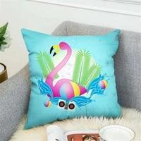 flamingo tropical plant cushion cover polyester throw pillow toucan pink nordic home decoration sofa decorative pillowcase