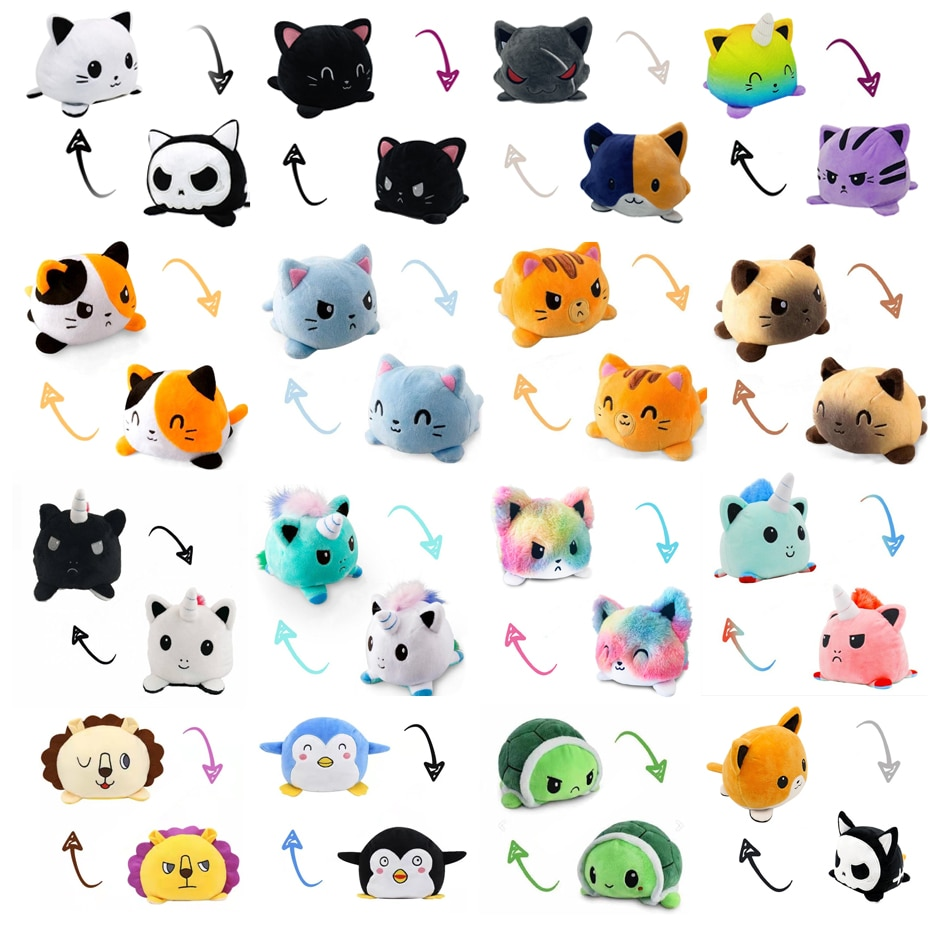 28 Styles Reversible Cat Gato Kids Plushie Plush Animals Unicorn Double-Sided Flip Doll Cute Toys For Peluches Pulpos Plush Toys