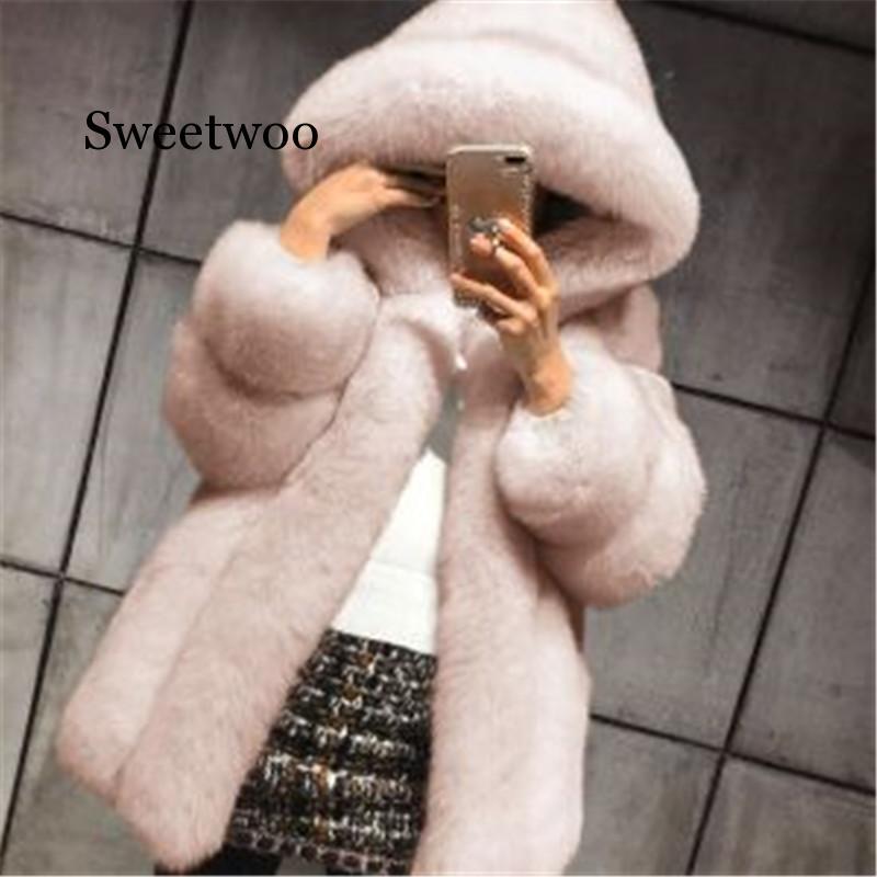 New Elegant Faux Fox Fur Coat Women Winter Fashion Medium Long Artifical Woman Warm Fake Coats Female