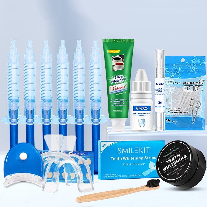 Dental Teeth Whitening Kit With Dental Floss PicksToothpicks Strips Whitening Toothpaste Powder Pen Essence Gel 13PCS