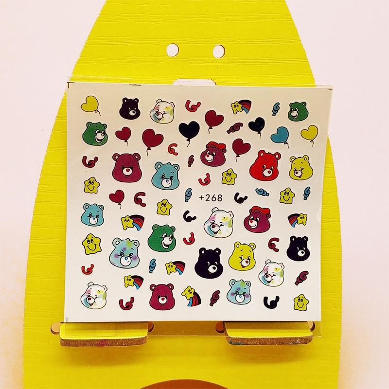 Adhesivos para uñas puntas DIY dibujos animados globo oso adhesivo decorativo para manicura pegatina de transferencia al agua niña manicura Accesorios