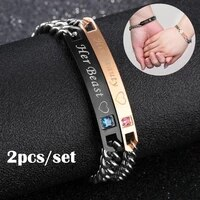 2pcsset couple bracelet his queen her king letter stainless steel crystal charm bracelets for womenmen accessories jewelry