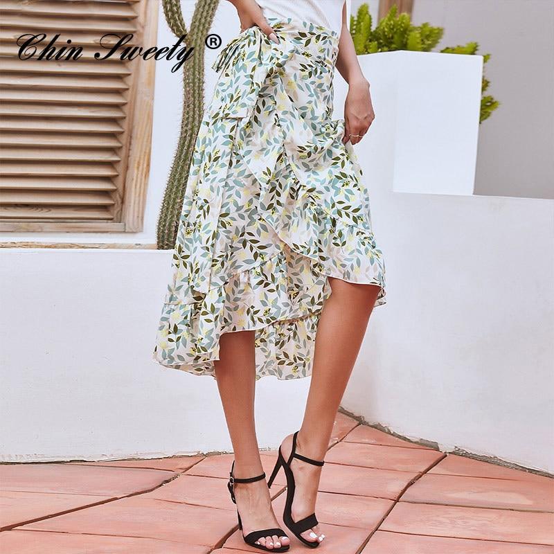 Prairie Chic Floral Printed Skirts Women Elegant Ruffle High Waist Mid-length Skirt Female 2021 New