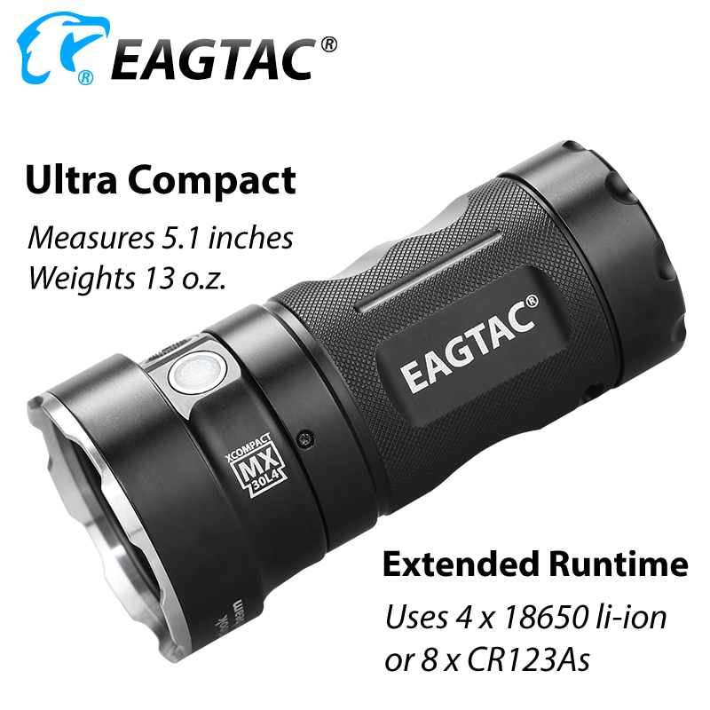 EAGTAC MX30L4XC Kit Extra Compact LED Flashlight Stainless Steel Bezel 4*18650 Battery 5136 Lumens 6500K Nichia 219C CRI92 enlarge