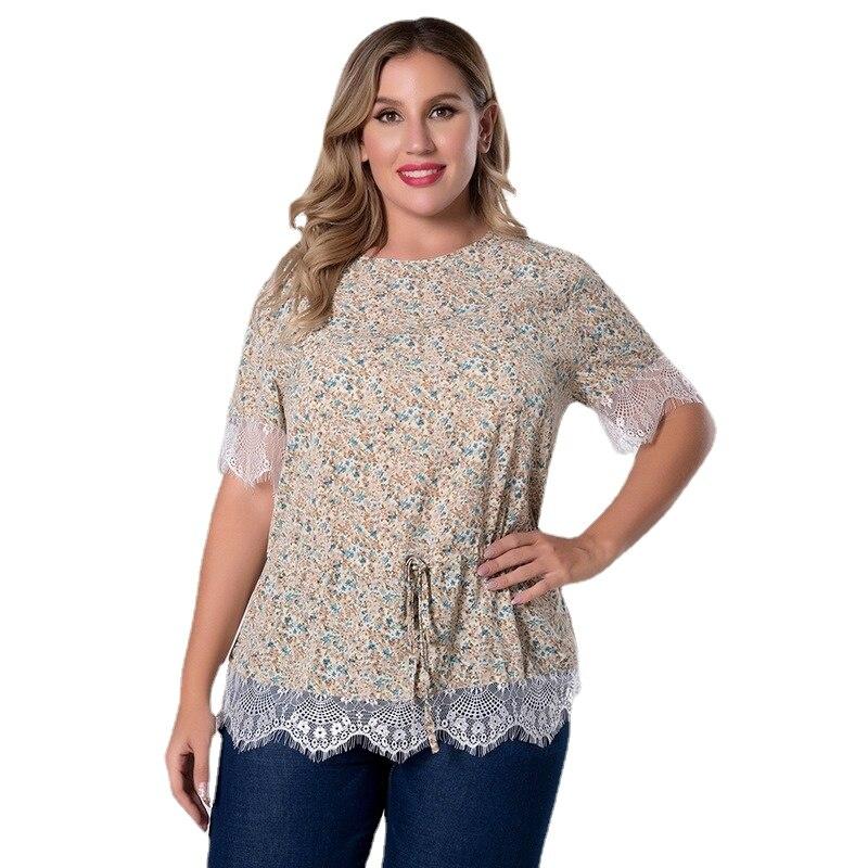 Womens Plus Size Ruffle Top Elegant Blouses Women's Summer Tunic T-shirts Women Short Sleeve  Female Print Lace  Floral T-shirt plus allover bird print ruffle sleeve top