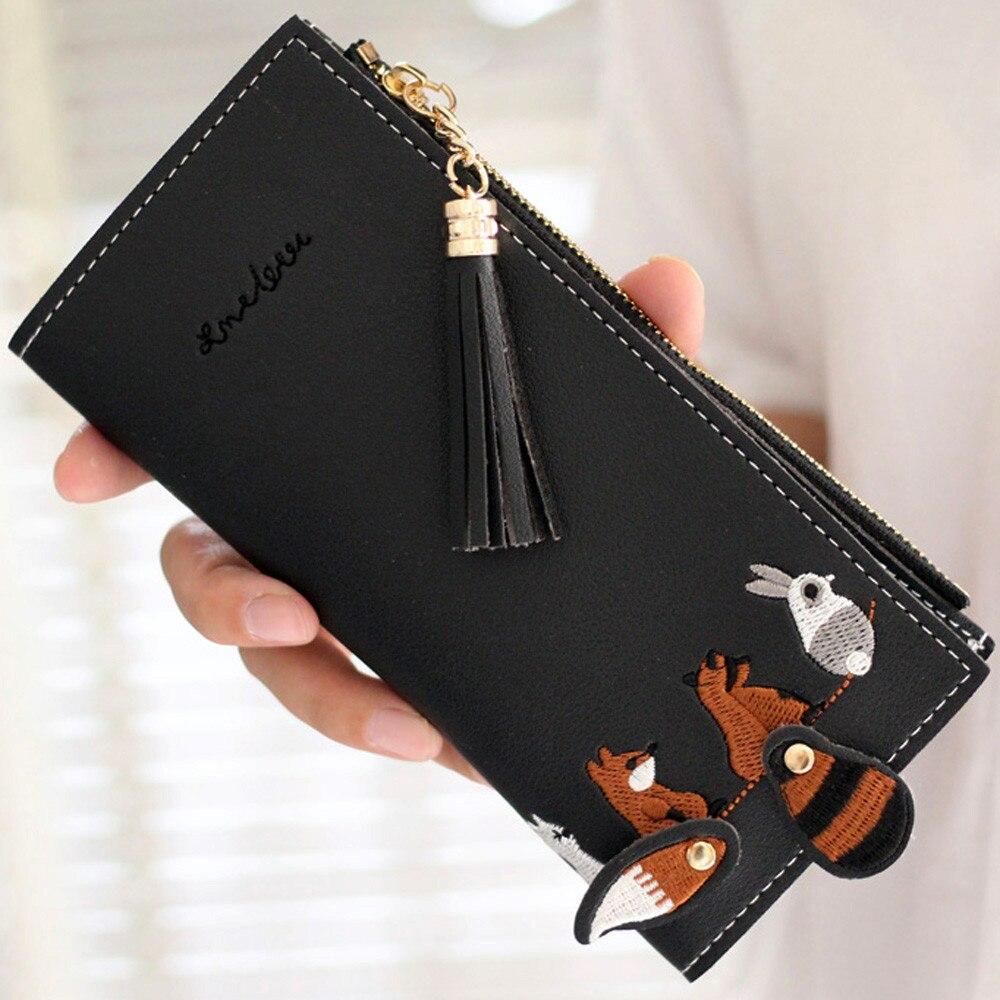 Cartera cuadrada para mujer, cartera larga con gato zorro, monedero cartera borla, tarjeteros, bolso con paquete, monedero largo Portefeuilles