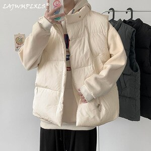 Men Short Style Cotton Waistcoat Parkas Solid Simple Sleeveless Coat Male Fashion Stand Collar Korean Warm Casual Loose Ins Chic