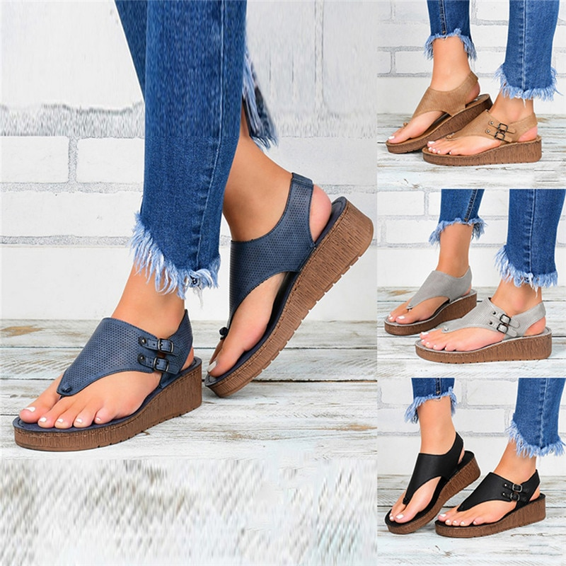 Summer Women Strap Sandals Women's Flats Open Toe Solid Casual Shoes Rome Wedges Thong Sandals Sexy Ladies Shoes
