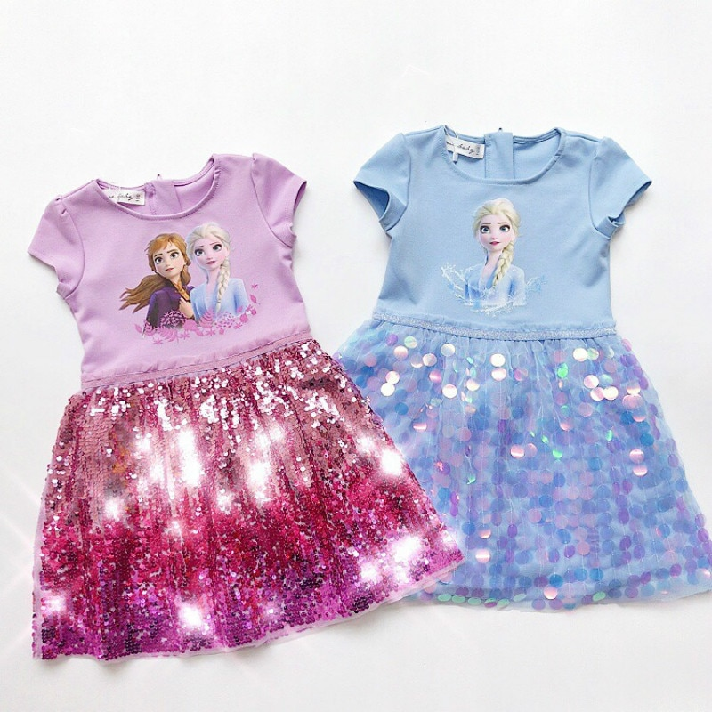 Girl Dress Summer Kids Clothes Princess Frozen Anna Elsa Print Sequins Dresses Cosplay Costume Party Birthday Children Clothing