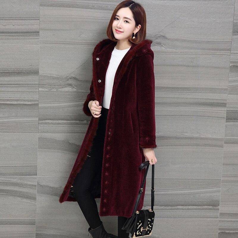 Abrigo de lana de calidad Natural, abrigos de piel auténtica esquilada de oveja Superior, chaqueta de invierno 2020 para mujer, capucha, abrigo de piel de visón para mujer s