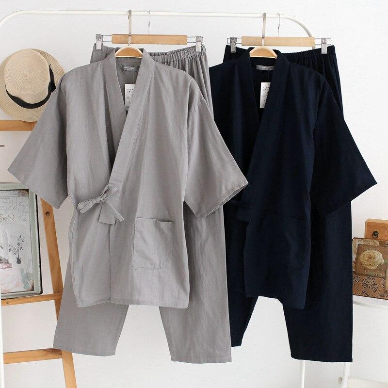 Мужская футболка с короткими рукавами пижамы летние хлопковые Двухслойное газовое кимоно s; Одежда для отдыха; Одежда с треугольным вырезом...
