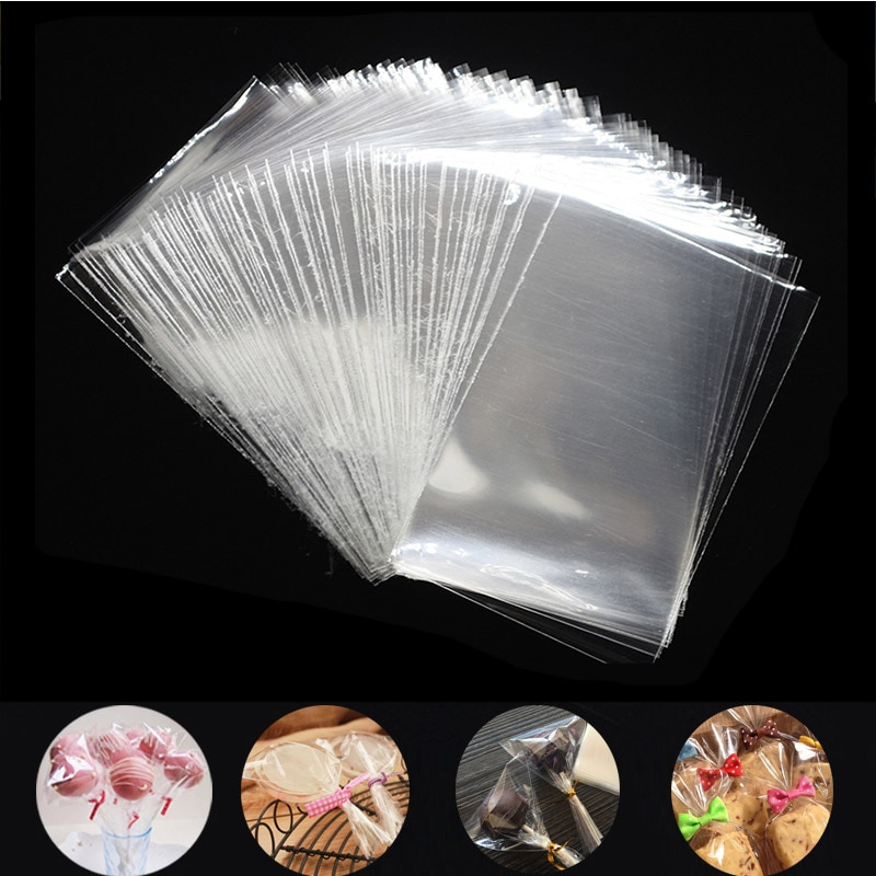 100Pcs Transparent Plastic Bags for Candy Lollipop Cookie Packaging Cellophane Bag Christmas Wedding Birthday Party Gift Bag