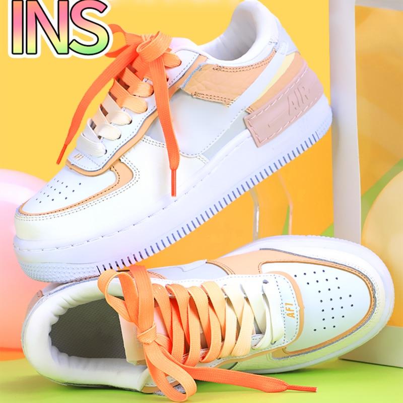 Fashion gradient shoelaces casual men and women shoelace adults&children unisex white AF1 shoes lace