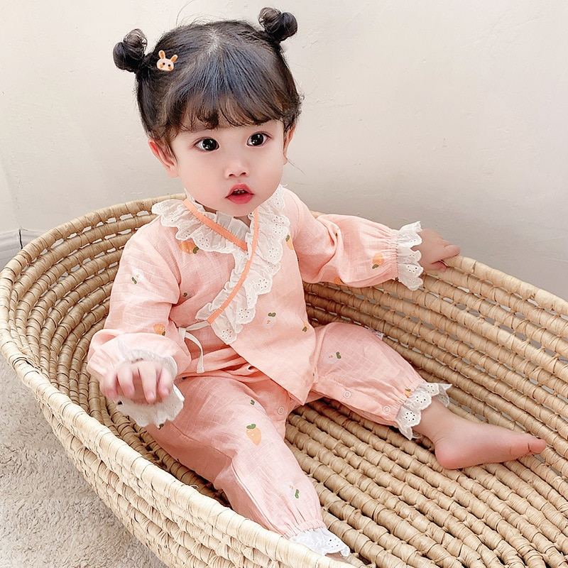 Brand Childrens Wear New Baby Jumpsuit In Spring 2021 Pure Cotton Lace Open Pants