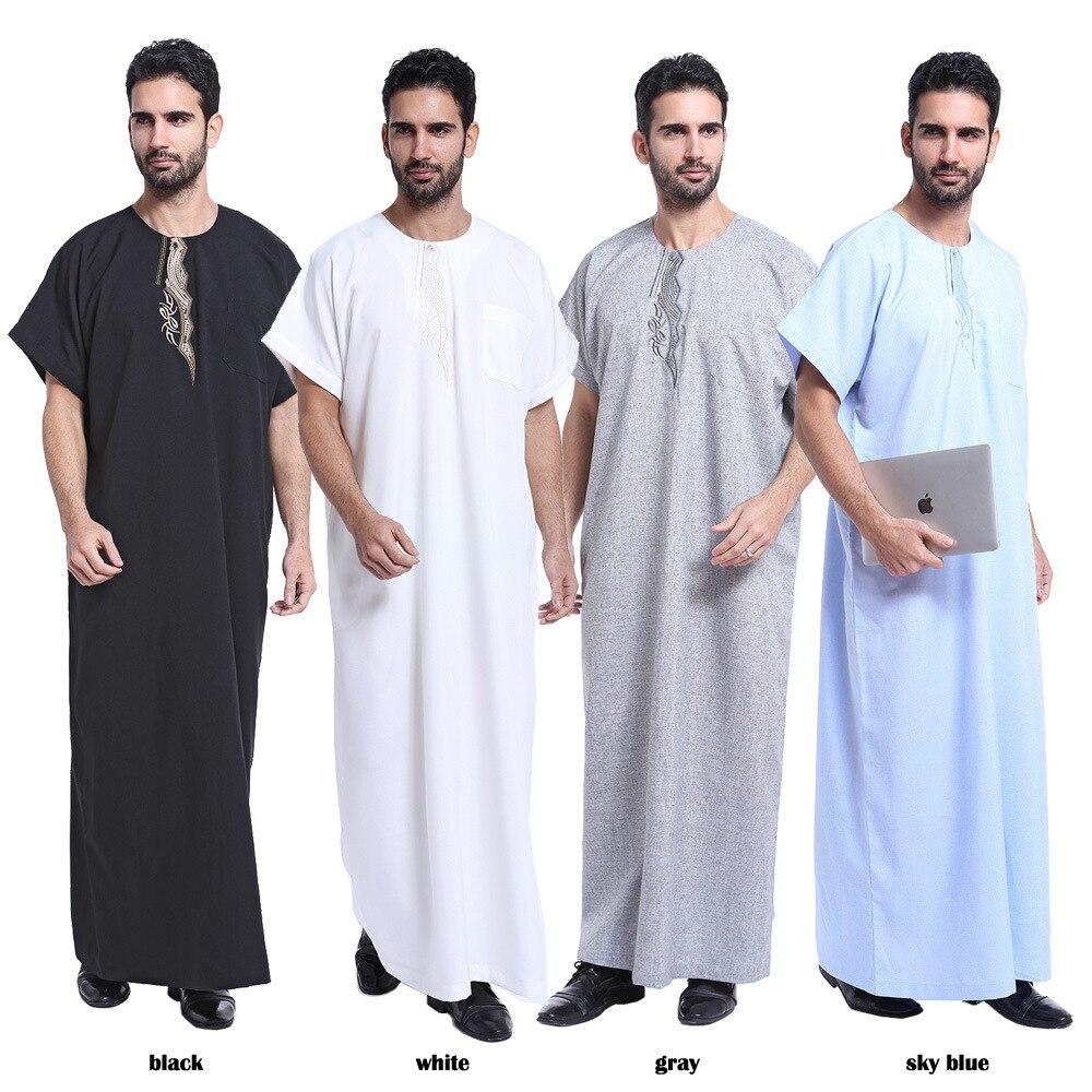 Muslim Dress Kaftan Men Printed Short Sleeve Retro Robes Loose Dubai Saudi Arabia Abaya Islamic Kaftan Men Jubba Thobe