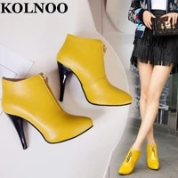 kolnoo new handmade womens high heels boots front zipper tasselfringed ankle booties sexy four colors evening fashion shoes
