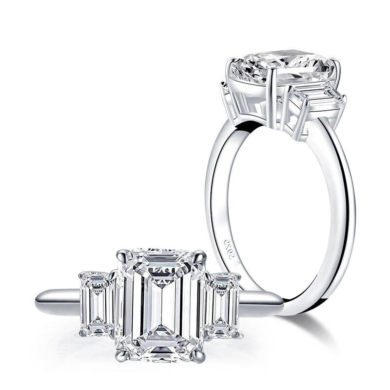 Anillo de compromiso de banda Eternity de Plata de Ley 925, anillo de compromiso de diamante SONA para mujer, dedo, regalo de joyas de fiesta
