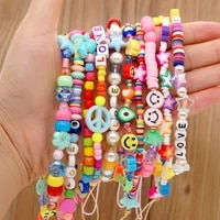 shinus telephone jewelry cell phone chain bohemian rainbow beads wrist strap for mobile phone holder string lanyard chains