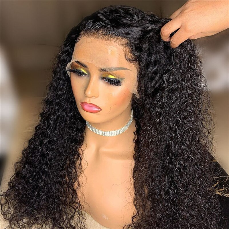 Lace Front Wig with Baby Hair Long Kinky Curly Hair Synthetic Lace Front Wig High Temperature Fiber Daily Wear for Women