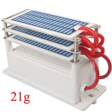 21 Гц/ч, портативный керамический озоновый генератор, 220 В, три встроенных долговечных керамических пластины, озонатор, очиститель воздуха и воды