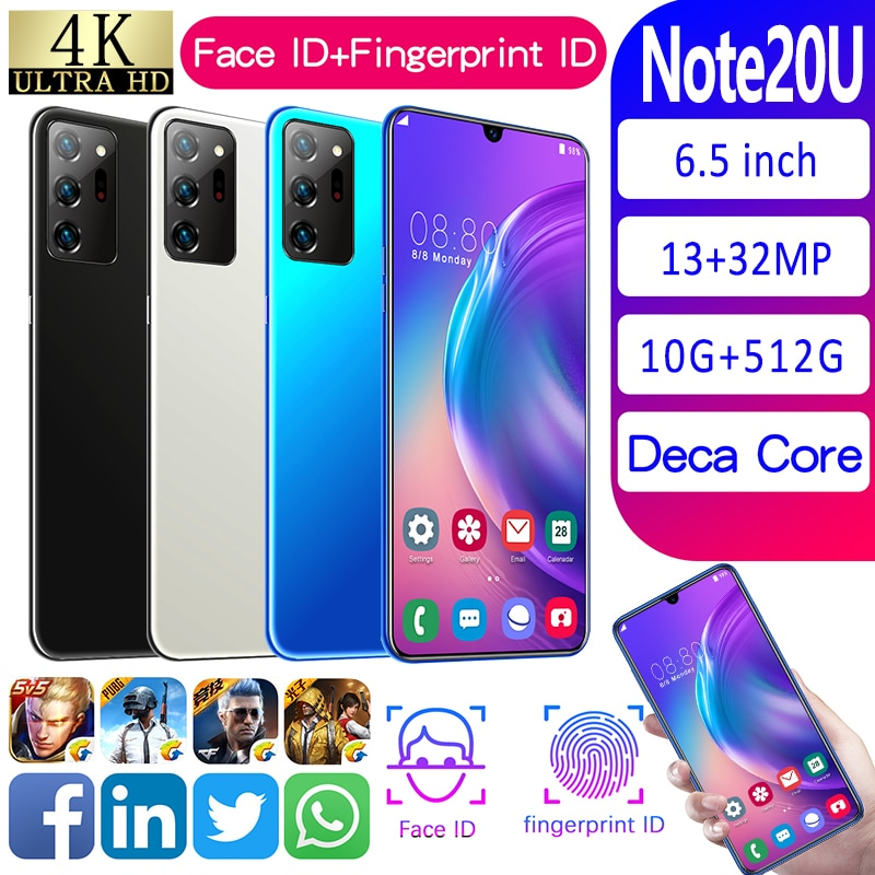 6.7inch 4800mAh Battery 10GB+512GB Android 10.0 5G   Note20U 10 Core Face ID Dual Sim Smartphones 13MP+32MP